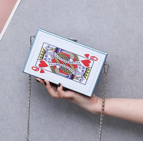Bolso bandolera de hombro con cadena para mujer Tarjeta de póquer divertida Cartas de ocio Bolsos cuadrados pequeños de moda Bolsa Color Negro