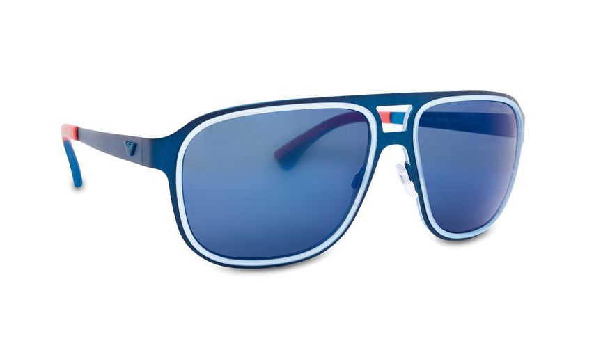 Trend Metal Sunglasses by Emporio Armani . Square metal frames, with light blue accent and blue lenses with mirror coating. Futuristic glasses with slim arms with curved temple tips, and a red color accent, super cool sunglasses for sunny day. http://www.zocko.com/z/JJ8sB