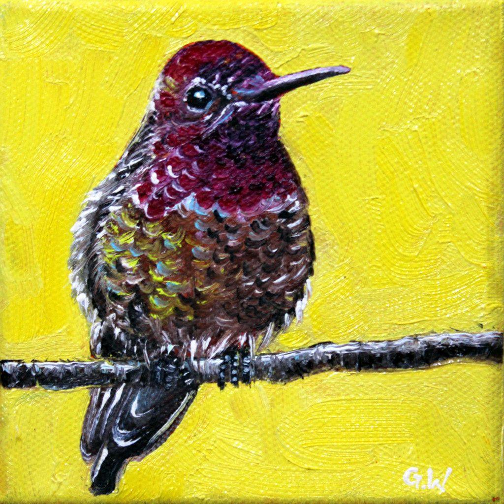 HUMMINGBIRD PAINTING, OIL painting, daily painters, bird ...