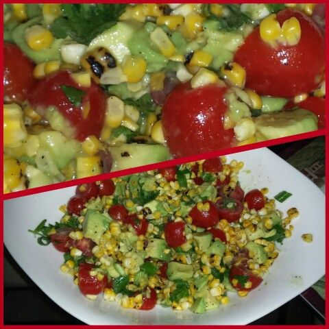 Fresh sweet corn grilled on the stove cherry tomatoes avocados green onions and a honey lime dressing made by #chefjanetcook