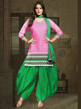 02ea7b647a Pink Cotton Suit With Resham Embroidery And Print Work www.saree.com ...