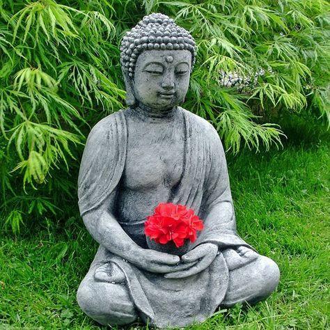 AuBergewohnlich Stein BUDDHA Feng Shui Steinfigur Grau / Anthrazit Patiniert Massiv  Skulptur Garten Deko Frostfrei Neu