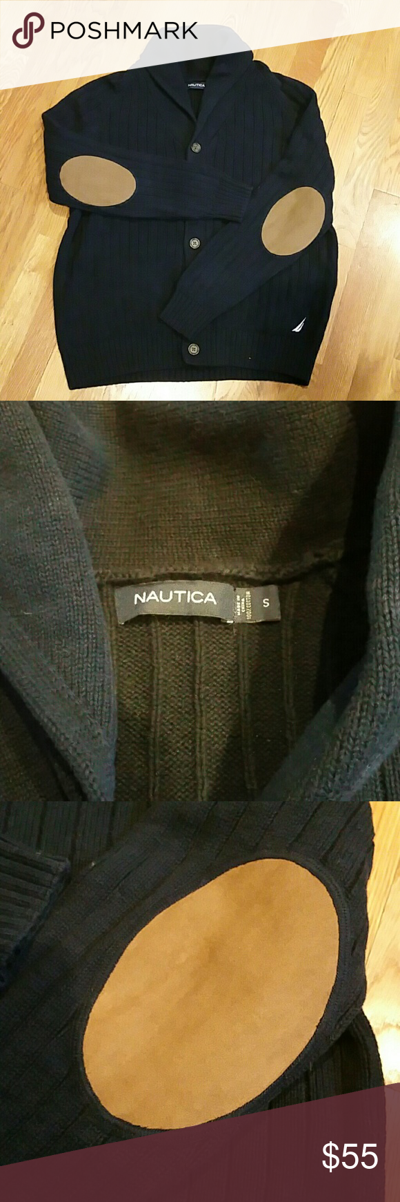 Nautica Cardigan (Mens) Nautica Cardigan  (Mens).  Size Small.  Color Navy Blue.   100% Cotton (nice and soft)  Button front,  roll collar.  Suede/leather style elbow patches.  Worn twice.  Excellent condition. Nautica Sweaters Cardigan