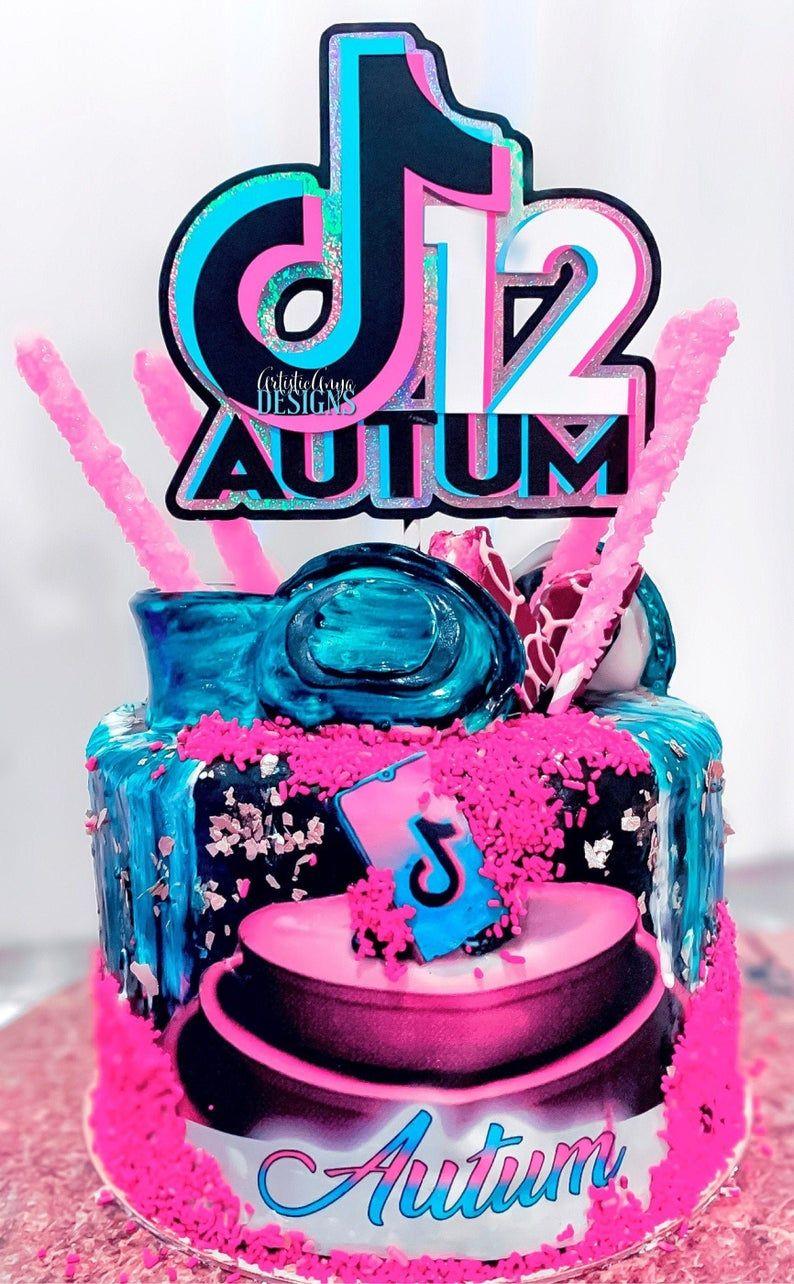 Tik Tok Cake Topper Tik Tok Party Decorations Age & Name