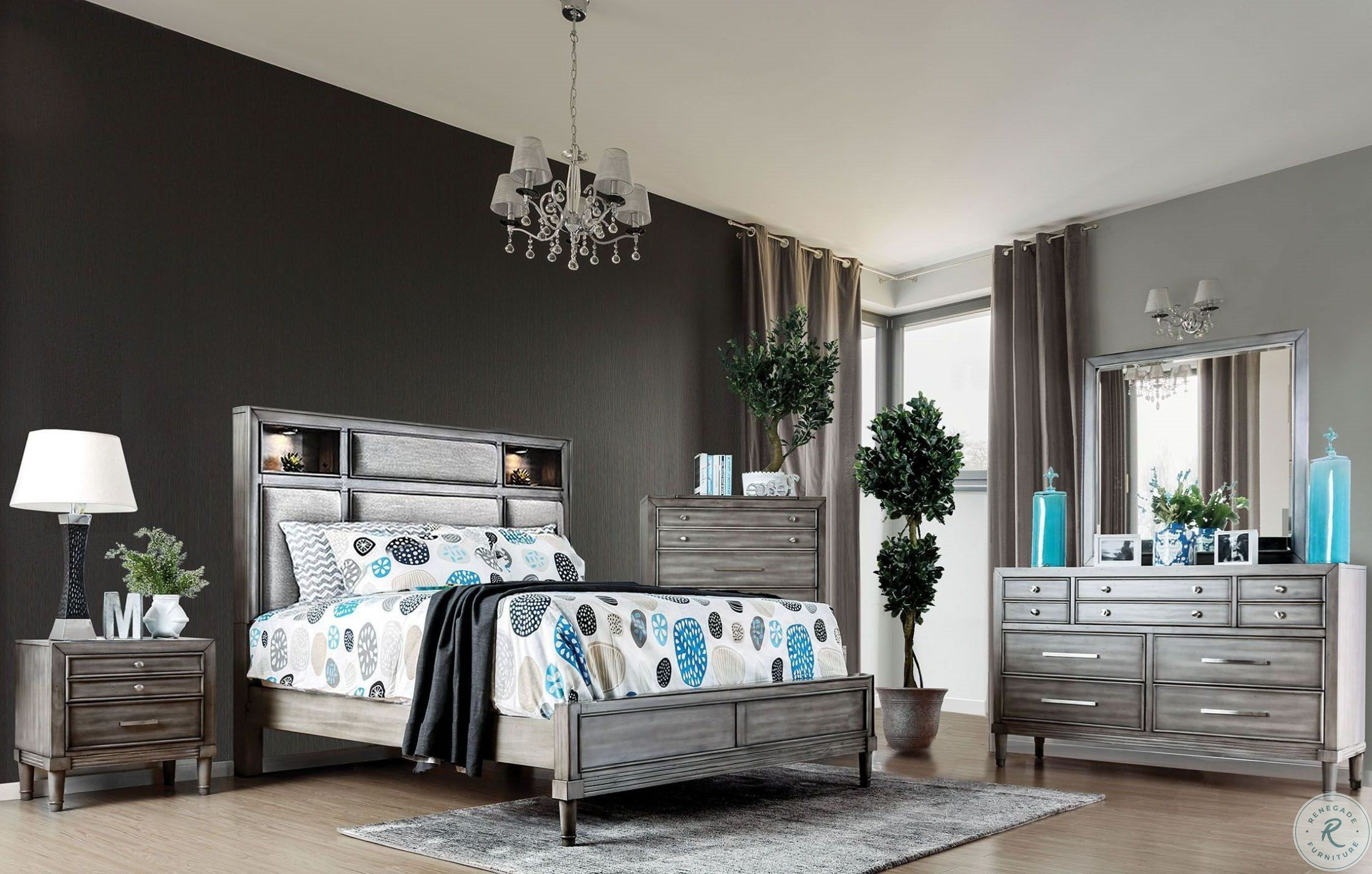 Madison Ridge Soft Grey Storage Bedroom Set  Luxurious bedrooms
