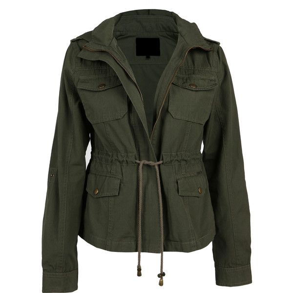 Drawstring Field Jacket ($29) ❤ liked on Polyvore featuring outerwear, jackets, army jacket, field jacket, green military jacket, army green jacket and green field jacket