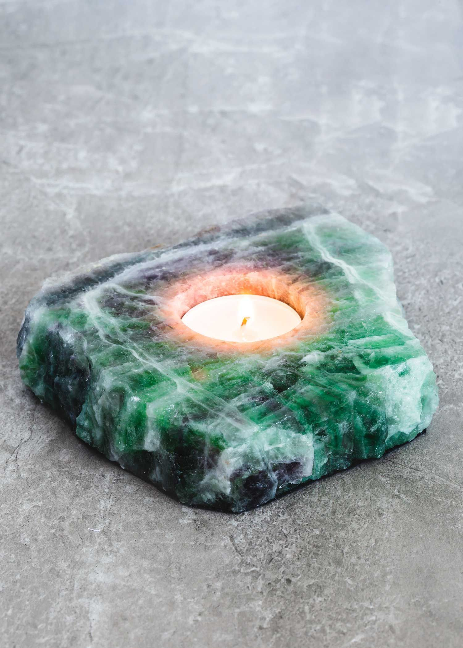 Fluorite slab candle holder by soulmakes crystals fluorite