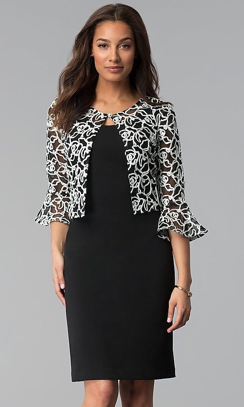 Mother Of The Bride Short Black Dress With Jacket Jacket Dress Short Dresses Mob Dresses