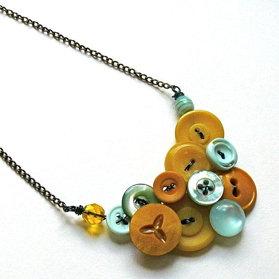 Turquoise Mustard Upcycled Vintage Button Necklace