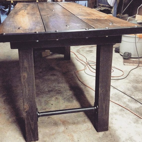 Medieval furniture industrial dining table rustic by for Rustic pipe table