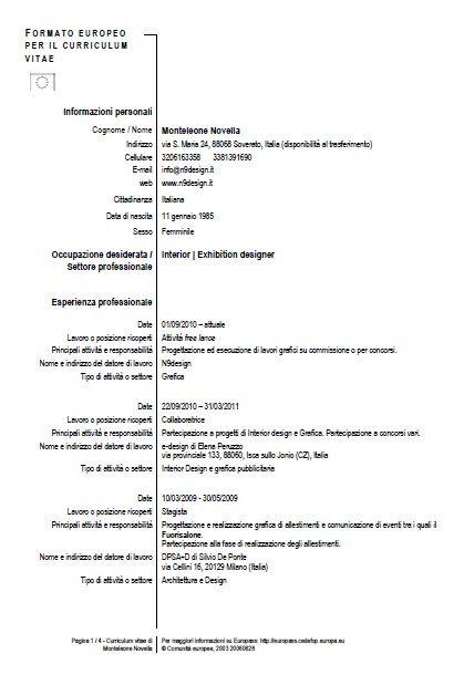 curriculum italiano - Cerca con Google Progetti da provare - europass curriculum vitae