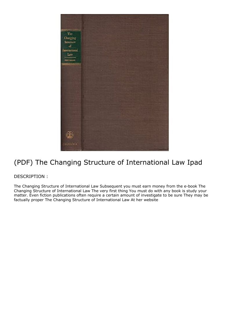 Pdf The Changing Structure Of International Law Ipad International Law Law Hardcover
