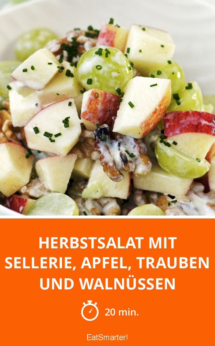 Autumn salad with celery, apple, grapes and walnuts -  Autumn salad with celery, apple, grapes and walnuts – smarter – time: 20 min. | eatsmarter.de  - #apple #autumn #BestHealthyRecipes #celery #DairyFree #grapes #NutFree #PaleoMeals #salad #Strawberries #StuffedPeppers #walnuts #FoodsThatAreGoodForYourHealth