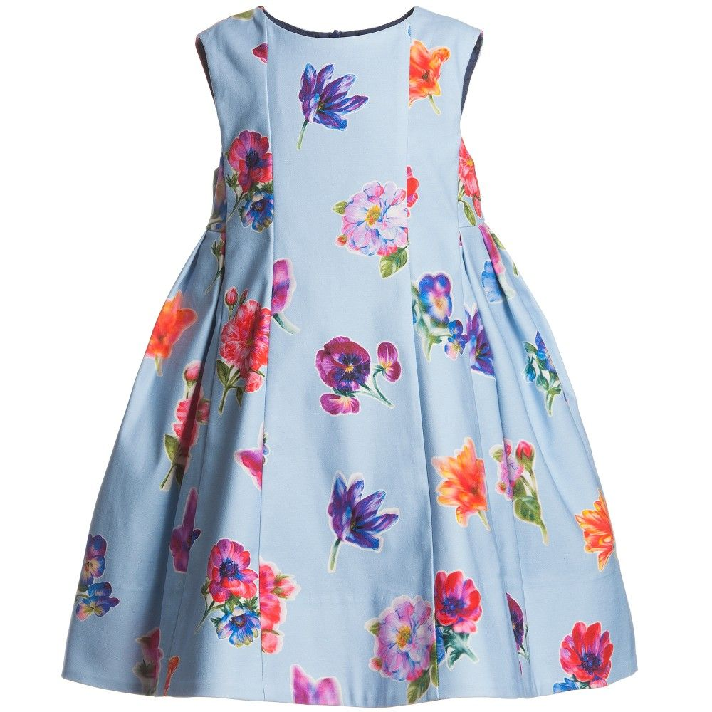 Simonetta blue cotton floral dress at childrensalon posh