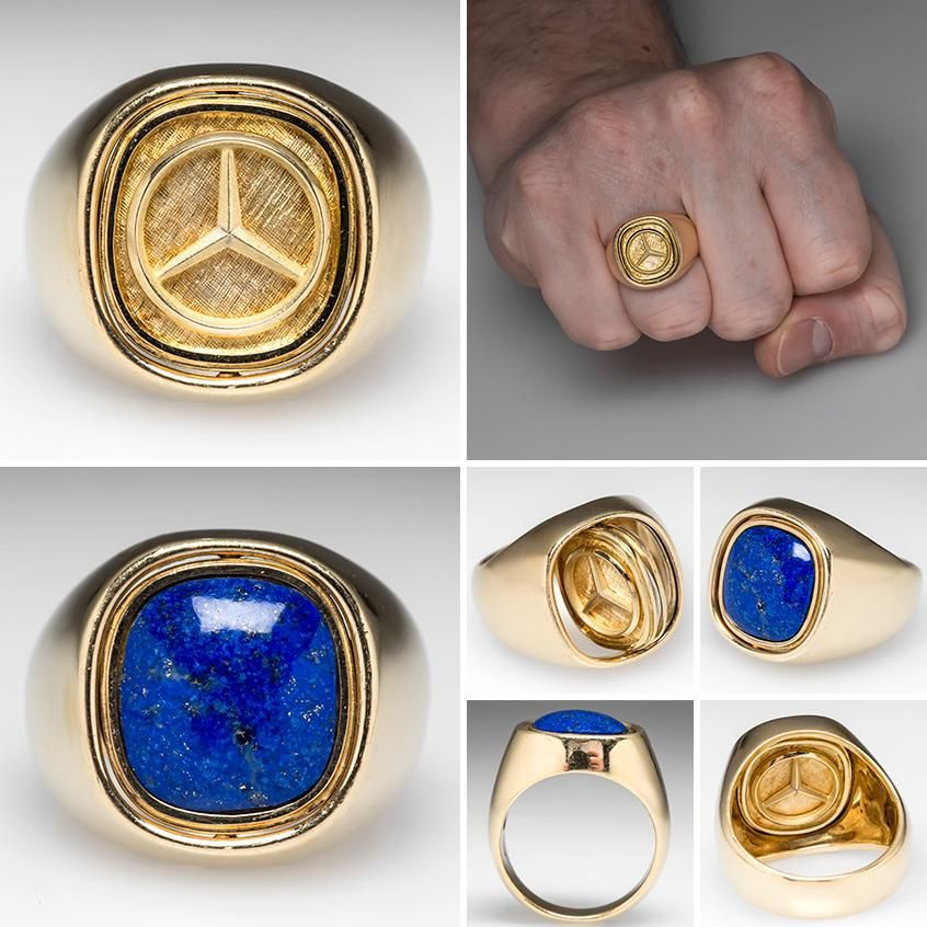 Mens mercedes benz flip ring w lapis lazuli 18k heavy for Mercedes benz earrings