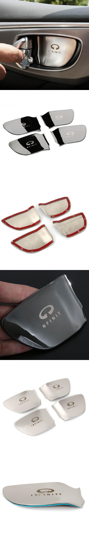 Inner Door Handle Knob Bar Wrist Bowl Protective Cover Sticker Trim For  Infiniti Q50 QX60 Q70