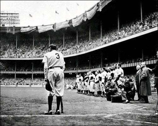 Last PHOTO of Babe Ruth, Farewell to Baseball, 1948 Yankee