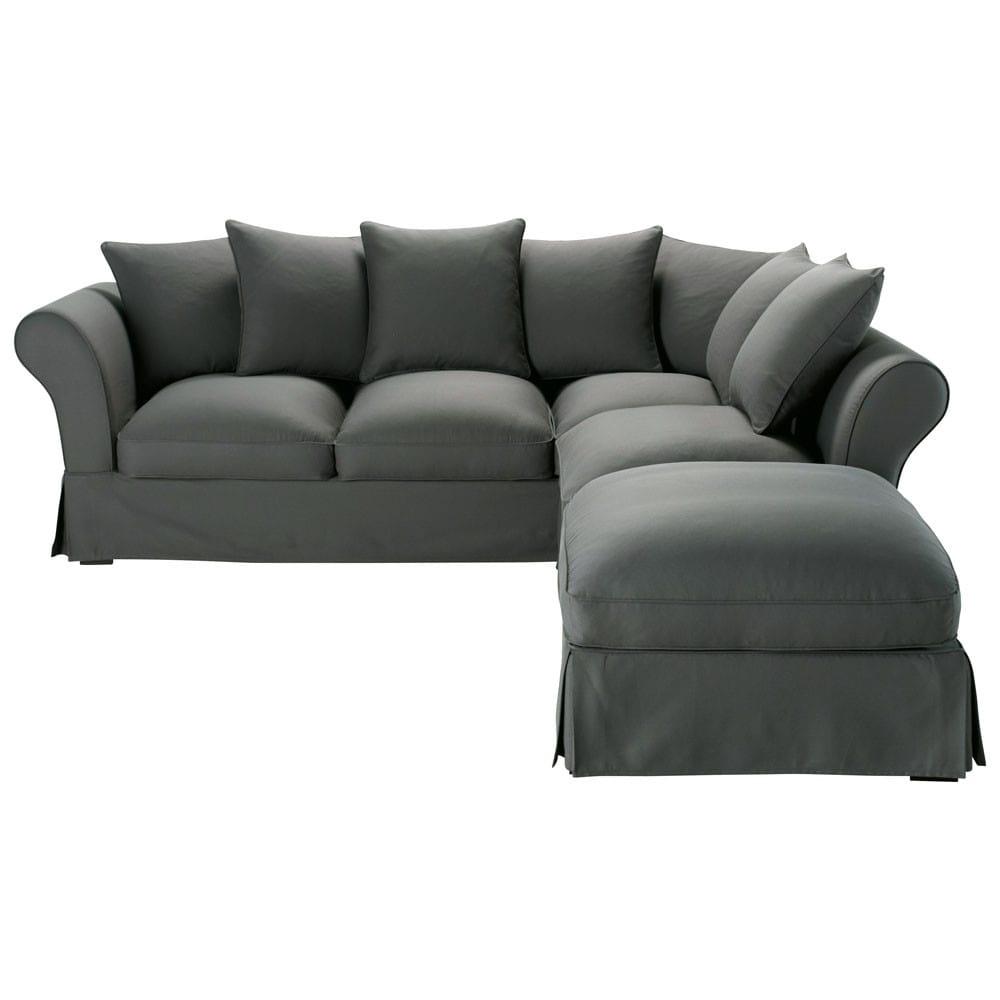 Canapé d angle 6 places en coton taupe