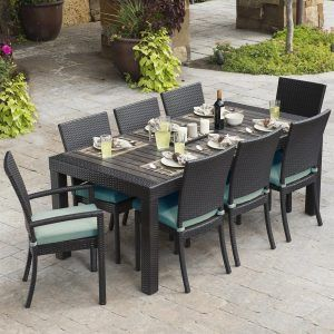 Rst Brands Deco 9 Piece Composite Patio Dining Set Wood Lawn Furniture Clearance Lowes Sets