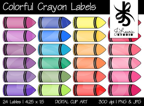 Digital clipart colorful crayon labels printable crayola for Crayon labels template