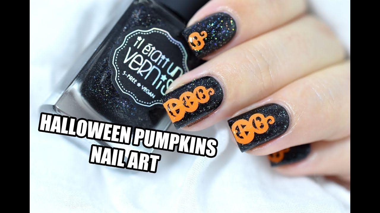 Easy Halloween Pumpkins Nail Art Tutorial Marine Loves Polish