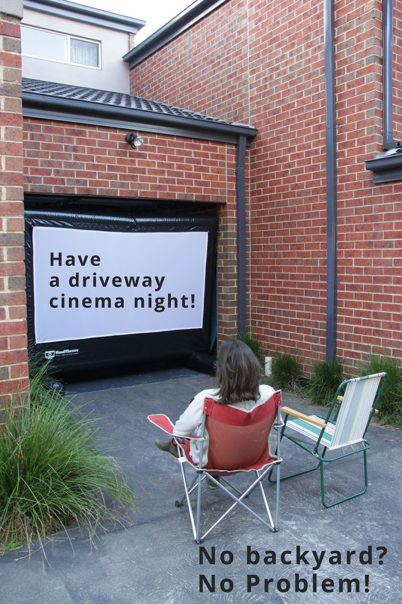 no backyard have your outdoor movie party in a driveway