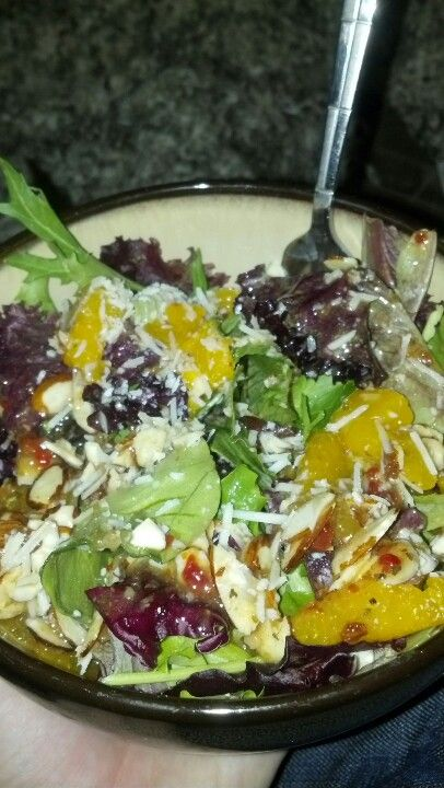 Cilantro almond and Mandarin oranges salad with sun dried tomato dressing