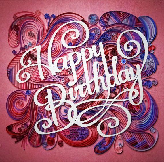 Büttenpapier quilling Happy Birthday, gerahmt in Shadow Box, Geburtstagsgeschenk, Wandkunst