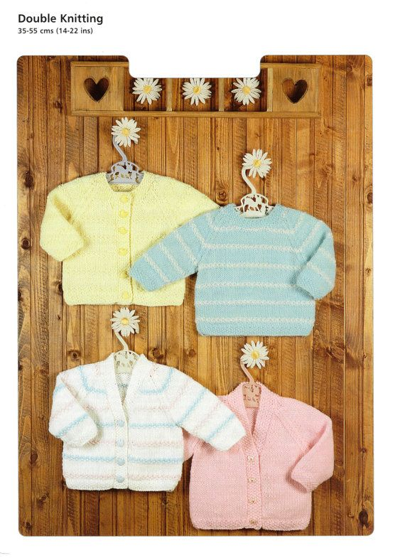 baby child cardigans and sweaters dk knitting pattern 99p