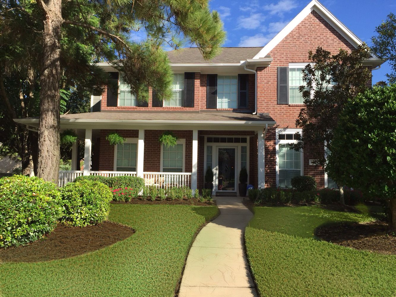 My Red Brick Black Shutters White Trim Dovetail Gray By Sherwin Williams For Siding Black Door Outdoor Paint Black Shutters Black Doors