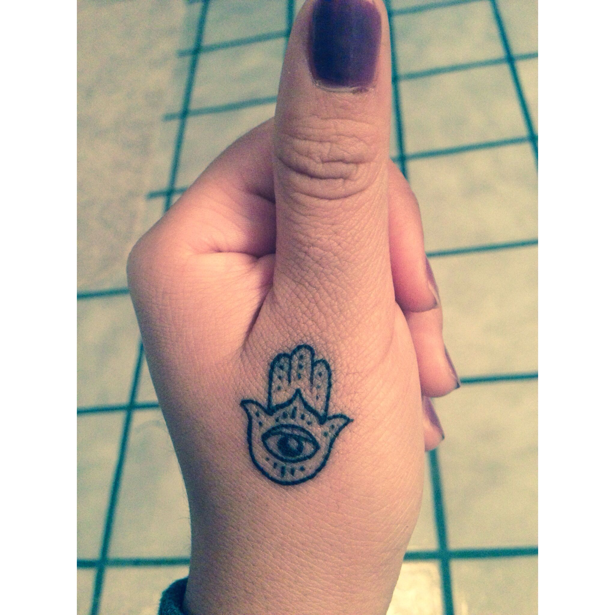 My hamsa tattoo on my thumb been wanting this for so long for Healing hand tattoo
