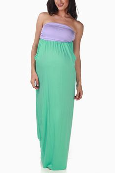 de731b17a5647 Mint Green Colorblock Strapless Maternity Maxi Dress #maternity #fashion  reminds me of the little mermaid!