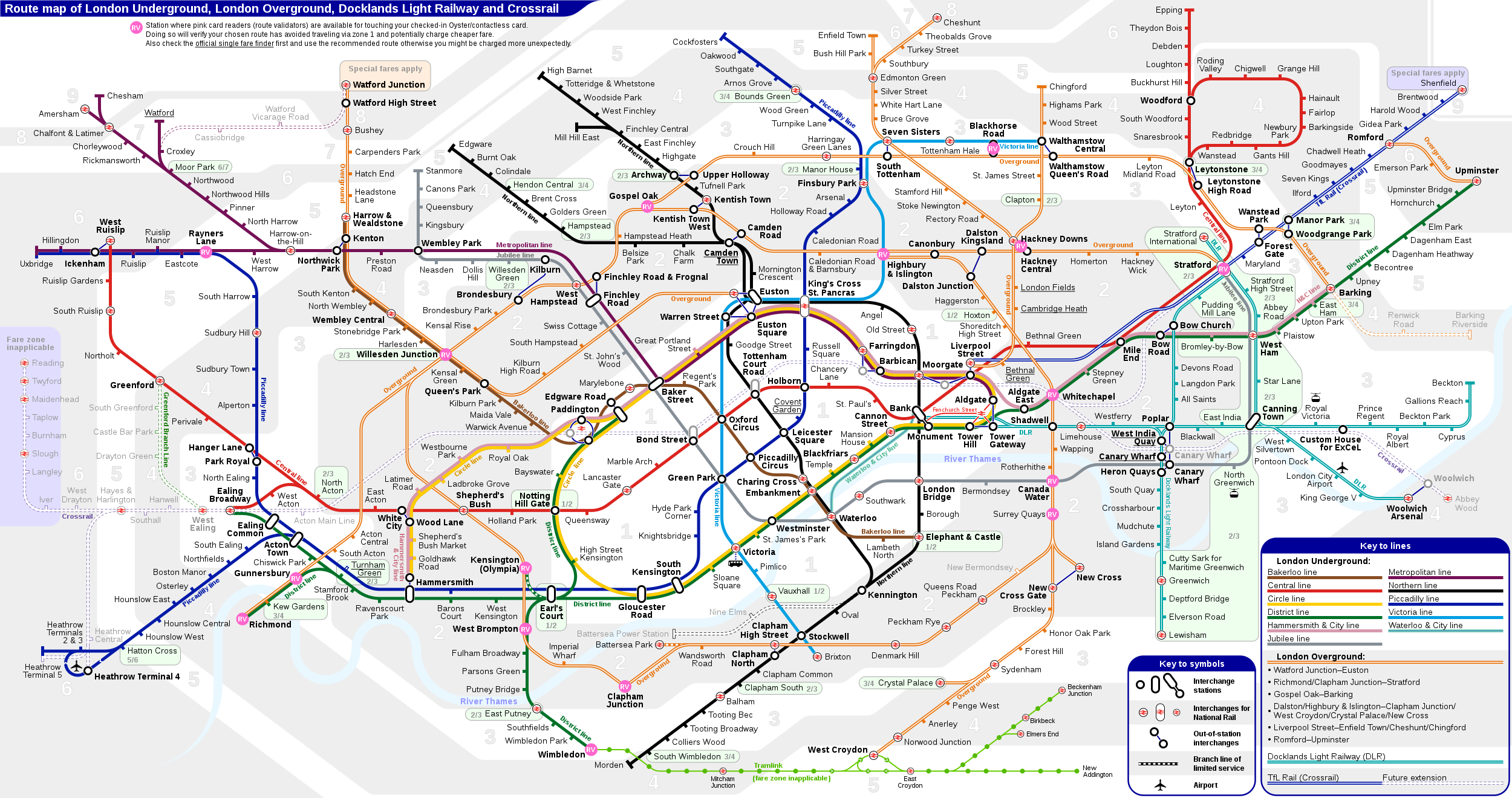 London Light Rail Map.London Underground Overground Dlr Crossrail Map Zone London Fare