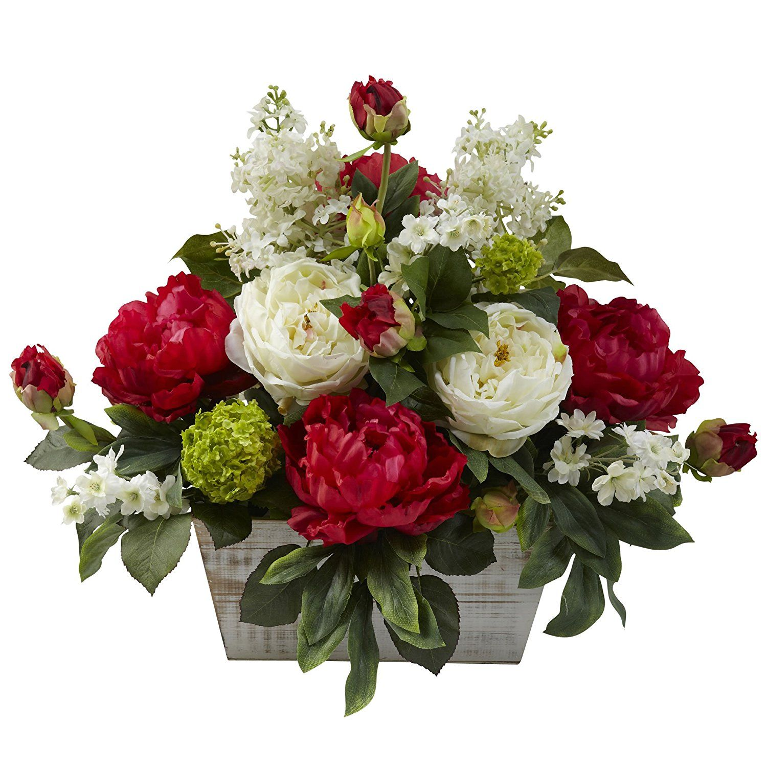 Nearly Natural 1320 Mixed Floral Arrangement with White