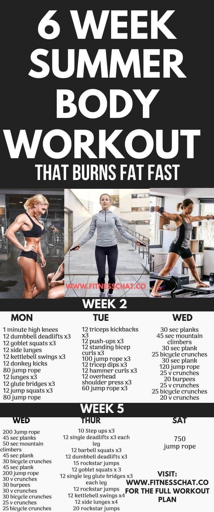 6 week summer body workout plan– your bikini body workout plan