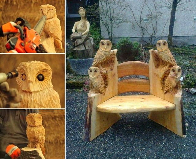 Image result for chainsaw carved owl bench carving