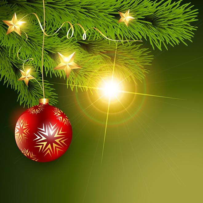 Free Vector Illustration Of Christmas Ball Hanging In Tree Fir On