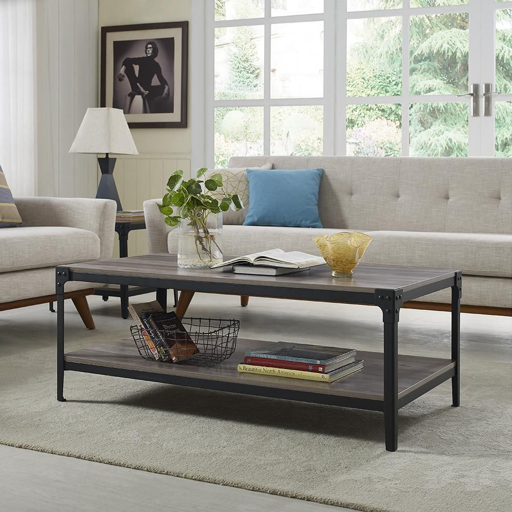 Walker Edison Furniture Company Angle 48 In Gray Wash Large Rectangle Mdf Coffee Table With Shelf Hd46aictgw The Home Depot Coffee Table Wood Coffee Table Rustic Coffee Table With Shelf [ 1000 x 1000 Pixel ]