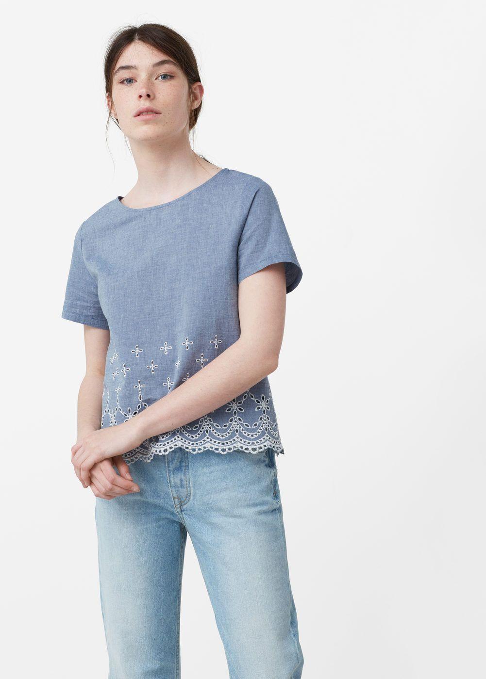 Blusa algodão bordado | MANGO