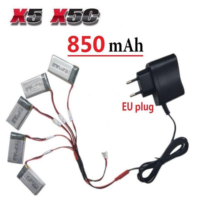 Teeggi 850 mah 3.7 v batteria lipo + spina euro caricatore di ca per syma X5C X5 X5SC X5SW H9D H5C RC Drone Quadcopter Parti di Batteria di Ricambio