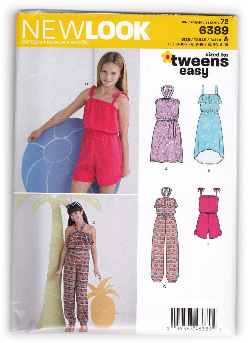 Tween Girls Rompers Jumpers Dress Sewing Pattern New Look 6389 Sz 8 ...
