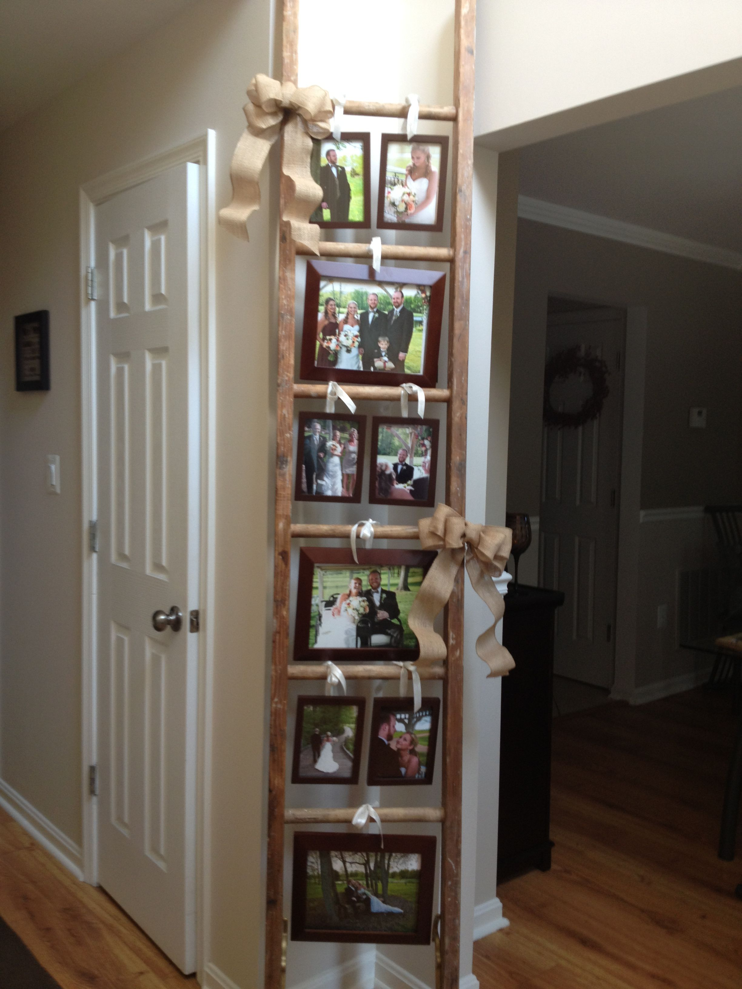 Ladder display for wedding photos old ladder decor home for Decor ladder house