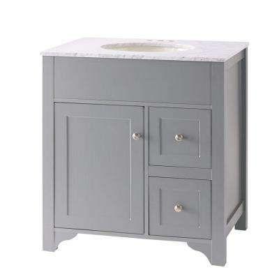 Hillsbury 30 Invanity In Cool Gray With Marble Vanity Top In Interesting 30 Bathroom Vanity With Top Design Inspiration