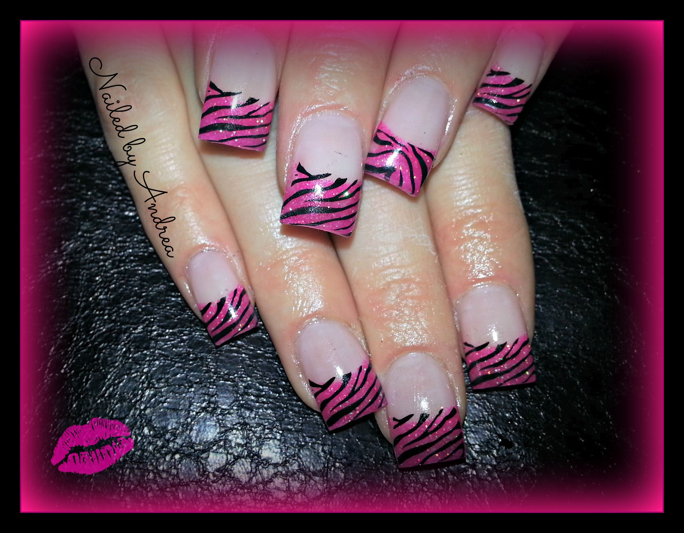 Pink zebra nails nails pinterest - Hot Pink Zebra Gel Nails