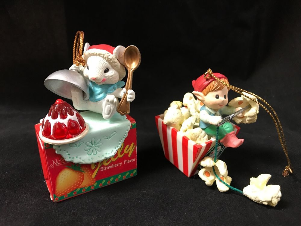 Lustre fame lot of 2 vintage christmas ornaments mouse elf collectibles