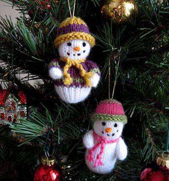 Knit Snowmen Ornaments Free Pattern Crochet Knitting Pinterest