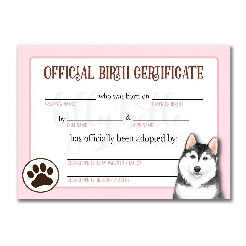 Pink Husky Birth Certificate Dog Birth Adoption Certificate