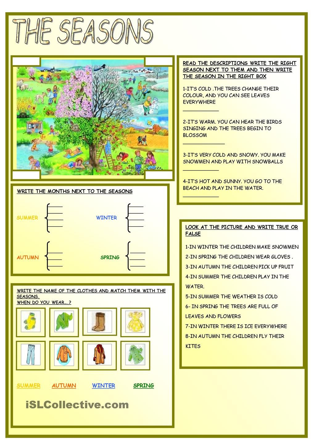 the seasons weather seasons pinterest english worksheets and reading comprehension. Black Bedroom Furniture Sets. Home Design Ideas