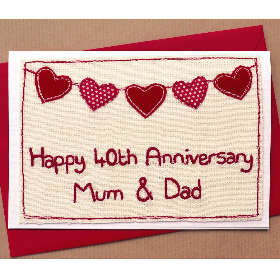 Anniversary Card on cross stitch linen Anniversary cards