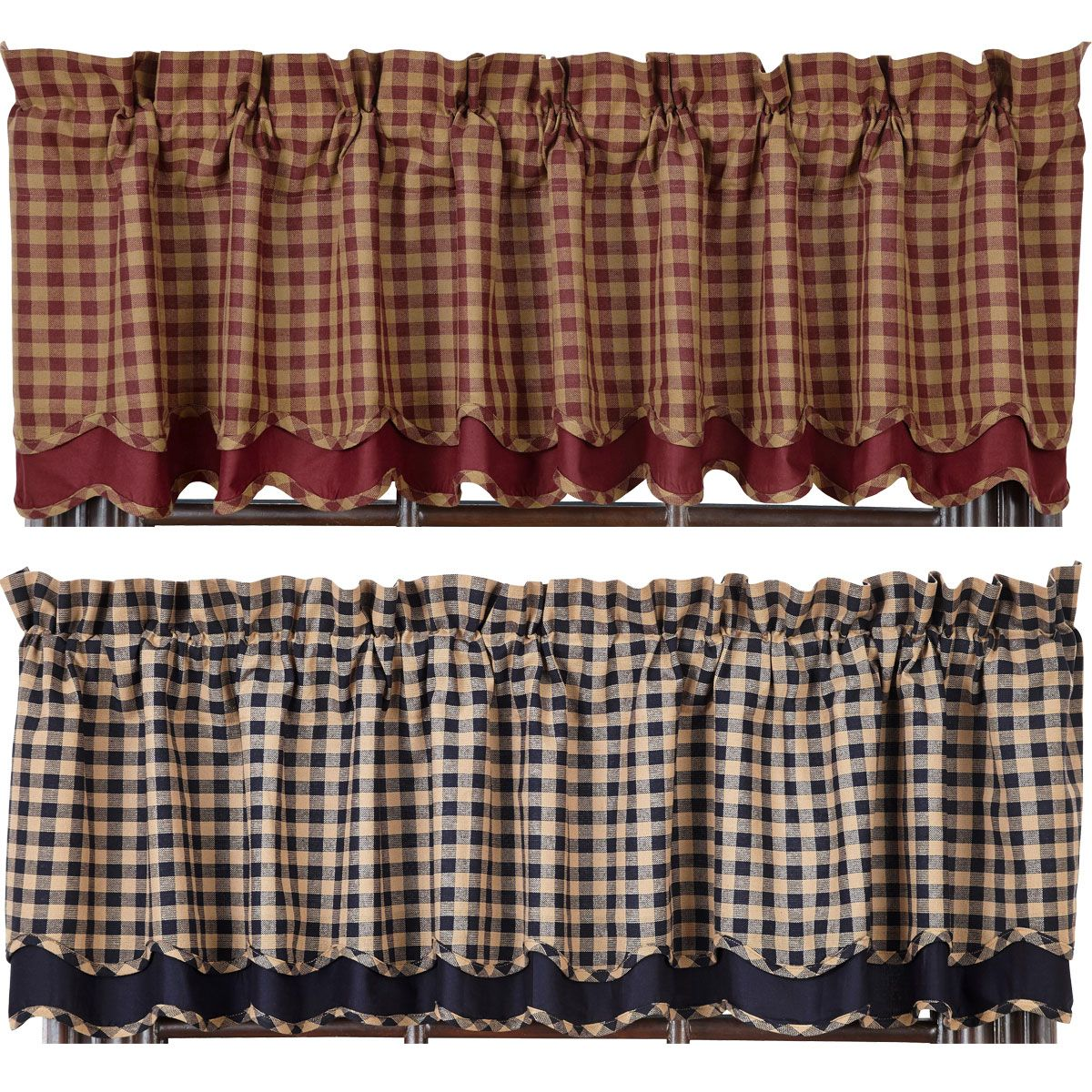 Burgundy Check Scalloped Lined Layered Valance